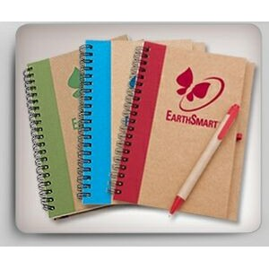 Recycled Cardboard Spiral Bound Notebook w/ Pen